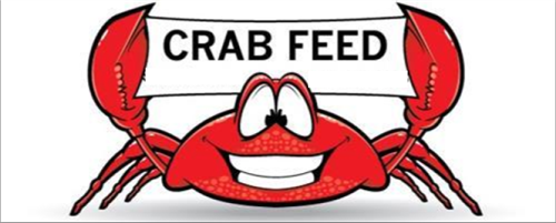 "Crab with ""Crab Feed"" Banner"