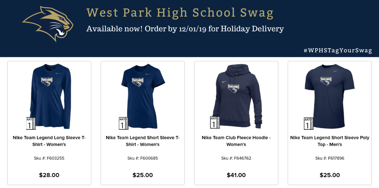 Picture has a variety of West Park High School Swag in navy blue and gold coloring with the panther