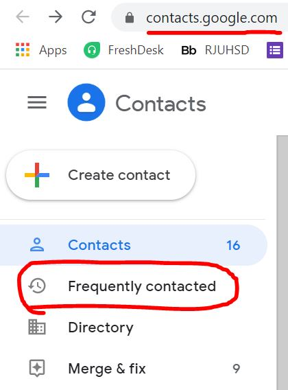 "Google Contacts site with ""Frequently Contacted"" circled in red."
