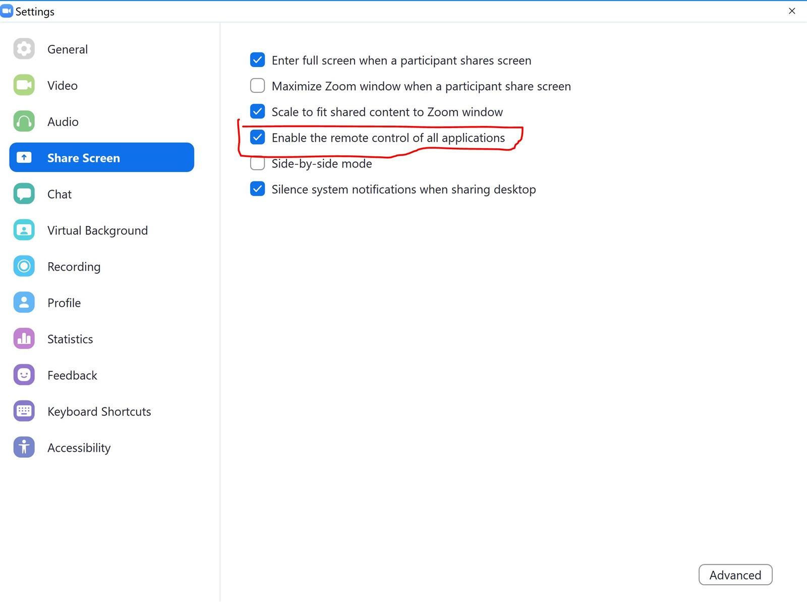 """Zoom settings menu with """"Enable the remote control of all applications"""" circled"""
