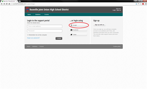 RJUHSD Freshdesk Login step 2