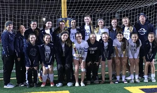 Oakmont Girls Varsity Soccer team photo with coaches holding 2nd place trophy.
