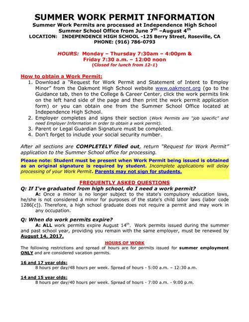 college  u0026 career center    work permits