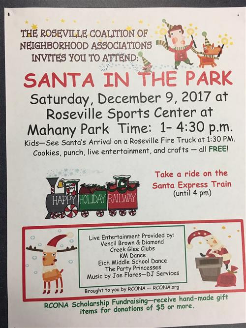 Santa in the park flyer