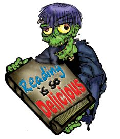 """Reading is so delicious"" zombie graphic"