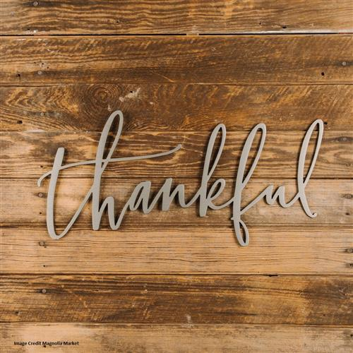 thankful word on a wood sign