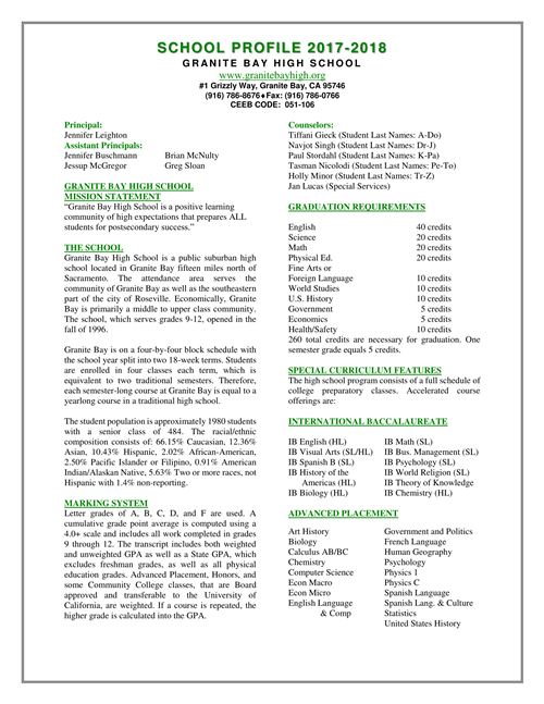 School Info and Reports / 2017-2018 School Profile