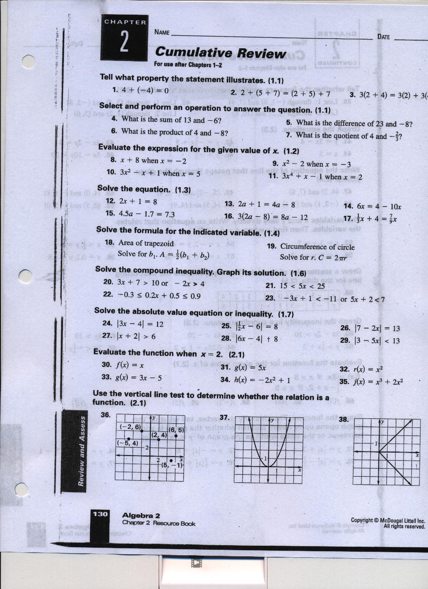 Worksheet Mcdougal Littell Algebra 2 Worksheet Answers mcdougal littell algebra 2 chapter 6 quiz answers fukuman c 2